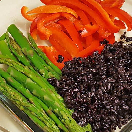 black-rice-asparagus-red-pepper